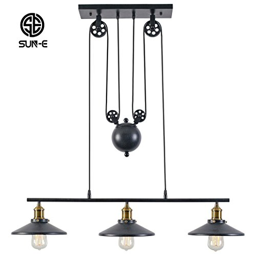 SUN-E Industrie Loft Vintage Kronleuchter drei Flaschenzug Aufzug Bügeleisen Cafe Restaurant Bar Lampe kreative Lampe