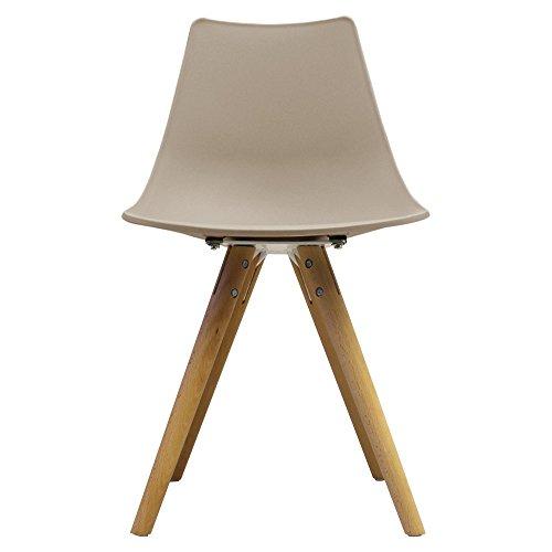 Scandi Retro Stil Designer Kunststoff Stuhl mit Beine aus Holz, beige, H: 82cm W: 47.5cm D: 44cm. SEAT HEIGHT 48CM