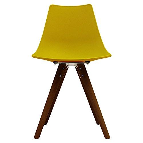 Scandi Retro Stil Designer Kunststoff Stuhl mit Walnuss Beinen, plastik, senffarben, H: 82cm W: 47.5cm D: 44cm. SEAT HEIGHT 48CM