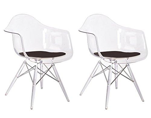 Set 2Stühle Design puristischen Formen aus Polycarbonat–Collection Bridget–Transparent und Kissen schwarz