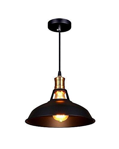 Splink Pendelleuchte Hängelampe Industrie Deckenlampe /Deckenleuchte, E 27 Fassung Fabrik-Lampe Messing- schwarz Lampenschirm