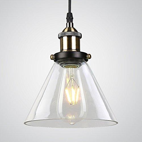 Splink Vintage Industrie Pendelleuchte Glas Lampenschirm Hängeleuchte für Küche Loft Schlafzimmer Office Home Modern Dekorative Hängelampe