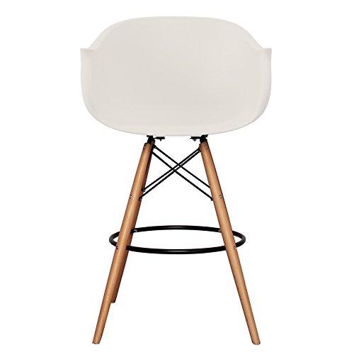 Stil Innen Möbel Scandi Retro Eiffelturm Stil Barhocker mit Kunststoff Badewanne Sitz in 12Farben und Beine aus Holz–Walnuss oder Natur Holz weiß