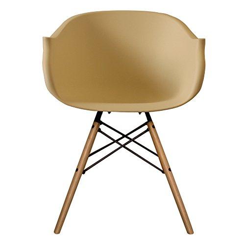 Stil Innen Möbel Scandi Retro Eiffelturm Stil Sessel mit Kunststoff Badewanne Sitz in 12Farben und Beine aus Holz–Walnuss oder Natur Holz cremefarben