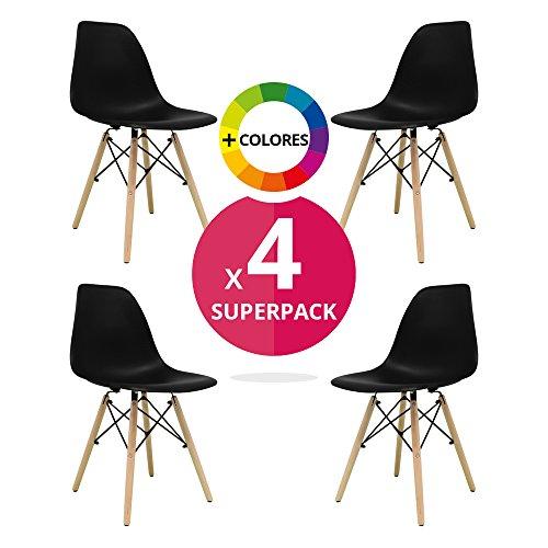 Stuhl Bettbezug (Pack 4)–Tower One–Stuhl Nordic Skandinavien inspiriert Stuhl Eames DSW Stuhl (wählen Sie Ihre Farbe) Schwarz