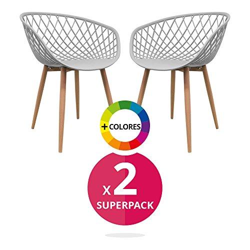 Stuhl Esszimmerstuhl Esszimmer Massivholz Pack Bettbezug 2Nordic Saga (wählen Sie Ihre Farbe) grau