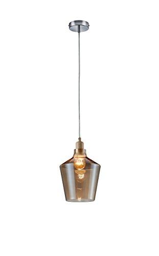 Trio Leuchten Pendel CALAIS in Holzoptik, Glas champagnerfarbig 304800100