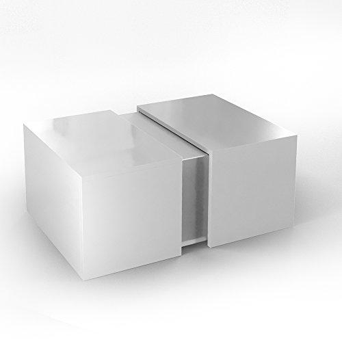 VICCO Couchtisch LED Weiß Hochglanz - Loungetisch Wohnzimmer Tisch Sofa Couch modern - edles Acryl Dekor