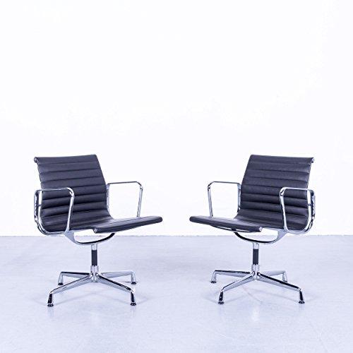 Vitra Eames EA 108 Armlehnen Stuhl Garnitur Leder Schwarz Chrom Designklassiker by Charles & Ray Eames #4709 Top Zustand