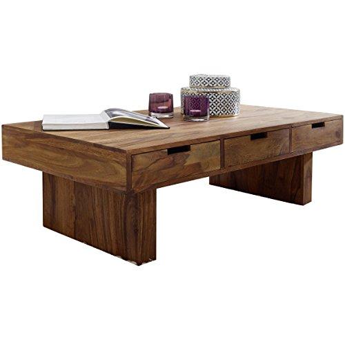 WOHNLING Couchtisch Massivholz Sheesham Design Wohnzimmer-Tisch 110 x 60 cm 3 Schubladen Landhaus-Stil Holztisch rechteckig Natur-Produkt Massiv-Holz-Tisch Wohnzimmer-Möbel mit Funktion und Stauraum