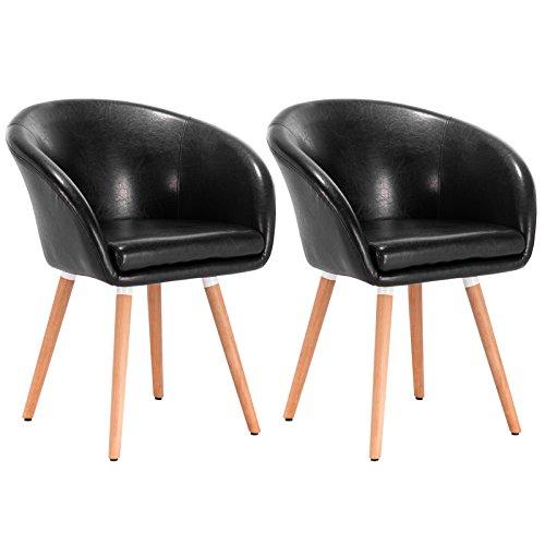 WOLTU 2er Set Esszimmerstühle Essgruppe Küchenstühle Wohnzimmerstühle Design Stuhl Retro Stuhl Polsterstuhl mit Arm- und Rückenlehne Stuhlgruppe, Sitzfläche aus Kunstleder, Holz Schwarz BH73sz-2