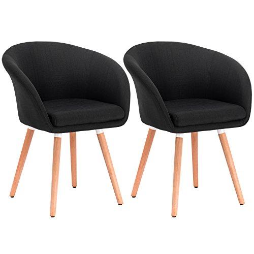 WOLTU 2er Set Esszimmerstühle Essgruppe Küchenstühle Wohnzimmerstühle Design Stuhl Retro Stuhl Polsterstuhl mit Arm- und Rückenlehne Stuhlgruppe, Sitzfläche aus Leinen, Holz Schwarz BH74sz-2