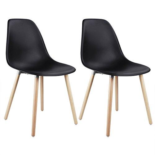WOLTU® 2er Set Esszimmerstühle Küchenstühle Wohnzimmerstuhl Design Stuhl Kunststoff Massivholz Schwarz BH04sz-2