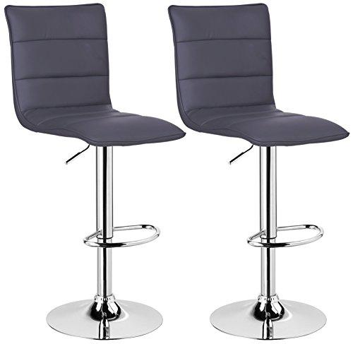 WOLTU BH15gr-2 Design Hocker mit Griff , 2er Set , stufenlose Höhenverstellung , verchromter Stahl , Antirutschgummi , pflegeleichter Kunstleder , gut gepolsterte Sitzfläche , grau