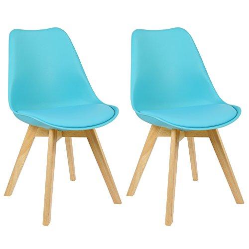 WOLTU BH29bl-2 2 x Esszimmerstühle 2er Set Esszimmerstuhl Design Stuhl Küchenstuhl Holz, Neu Design Blau