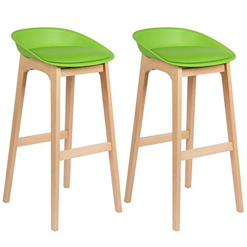 WOLTU® BH46gn-2 2 x Barhocker 2er Set Barstühle gut gepolstert mit Kunstleder Design Stuhl Holz Grün