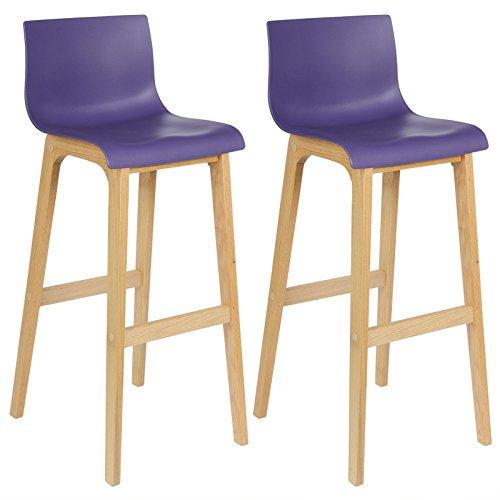 WOLTU® BH47la-2 2 x Barhocker Barstühle Holzgestell mit Rückenlehne Stuhl Lounge Lila