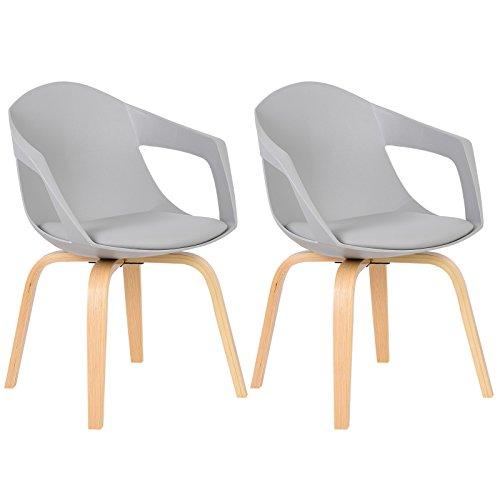WOLTU® BH50gr-2 2 x Esszimmerstühle 2er Set Esszimmerstuhl, Rücklehne und Sitzfläche aus Kunstleder, Design Stuhl Küchenstuhl, Holz-Gestell, Neu Design, Grau