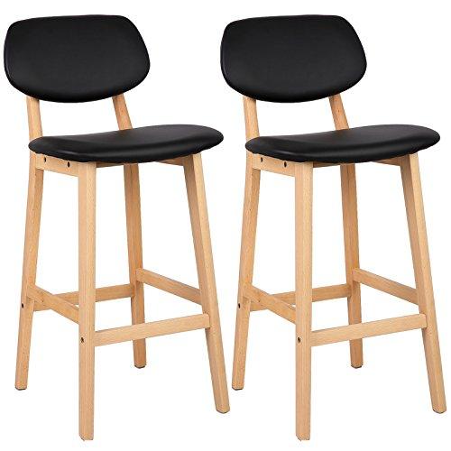 WOLTU® BH51sz-2 2 x Barhocker 2er Set Barstühle gut gepolsterte Sitzfläche und Rücklehne aus Kunstleder Design Stuhl Holz Schwarz