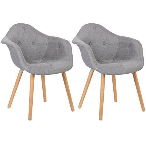 WOLTU BH55gr-2 Esszimmerstühle 2er Set Esszimmerstuhl mit Lehne Design Stuhl Küchenstuhl Leinen Holz Grau