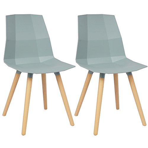 WOLTU BH63wb-2 2 x Esszimmerstühle 2er Set Esszimmerstühle Design Stuhl Küchenstuhl mit Rückenlehne Kunststoff Holz Neu Design Weißblau