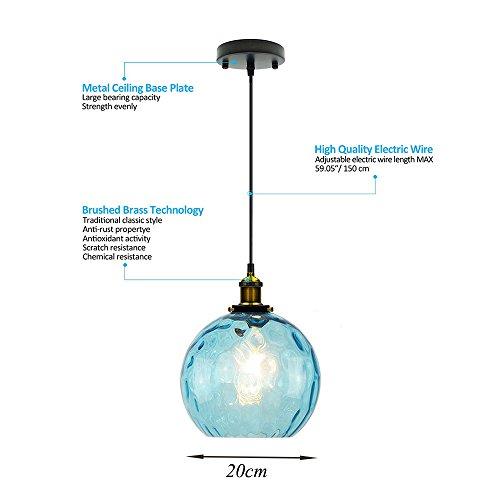 Wings of wind Moderne Pendelleuchte Industrial Design E27 Glas Lampenschirm Deckenbeleuchtung Blau (20cm)