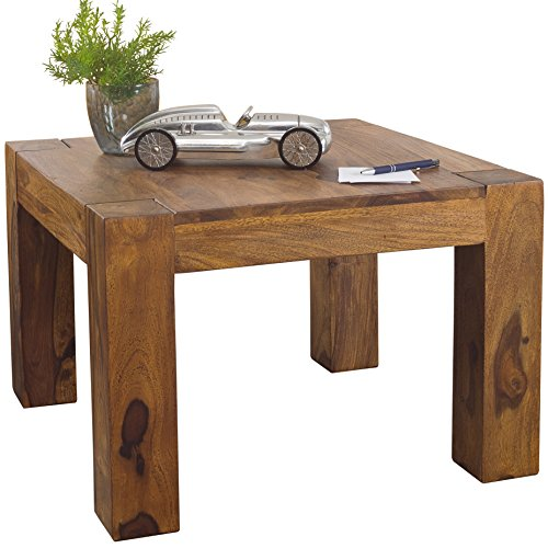 Wohnling Couchtisch Massiv-Holz Sheesham 60 cm breit Wohnzimmer-Tisch Design Landhaus-Stil Beistelltisch Natur-Produkt Wohnzimmermöbel Unikat modern Massivholzmöbel Echtholz quadratisch dunkel-braun