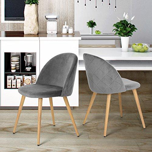 coavas Esszimmerstuhl samt weich Kissen Sitz und Rücken mit hölzernen Metallbeine Küche Stühle für Ess - und wohnzimmer Stühle Set von 2, Grau