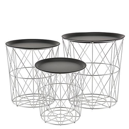 [en.casa]® Zeitlose Metallkörbe im 3er Set geeignet als Beistelltisch aus Metall in Silber