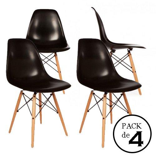 homment Eames DSW schwarz 4U–Pack von Stühlen