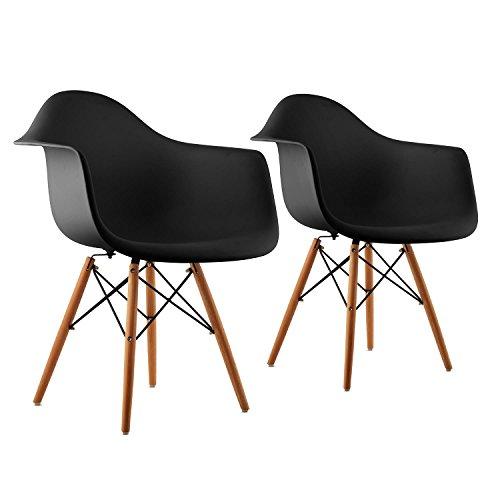 oneConcept Bellagio • 2 x Schalenstuhl • Vintage 2-er Set • 70er-Jahre Retro Look • PP-Schale • breite Sitzfläche • 43 cm Sitzhöhe • schmale Armlehne • Birkenholz • zeitloses Design • schwarz