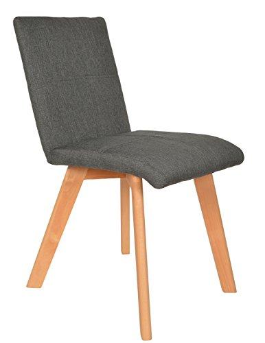 ts-ideen 1 x Lounge Stuhl Sitz Design Klassiker Sessel Retro 50er Jahre Barstuhl Küchenstuhl Esszimmerstuhl Sitz in Grau Holz Buche