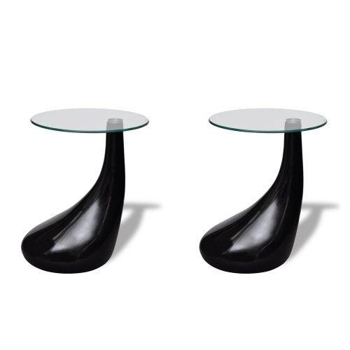 vidaXL 2 x Design Couchtisch LOUNGE TEAR schwarz Beistelltisch Glastisch 240323