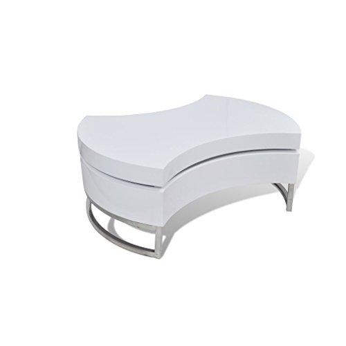 vidaXL Couchtisch Kaffeetisch Beistelltisch Tisch Formverstellbar Hochglanz Weiß