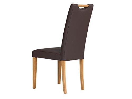 massivum 2er-Set Esszimmer-Stuhl Pennsylvania 46x100x60 cm Bezug Spalt-Leder braun und Gestell Holz massiv Buche lackiert