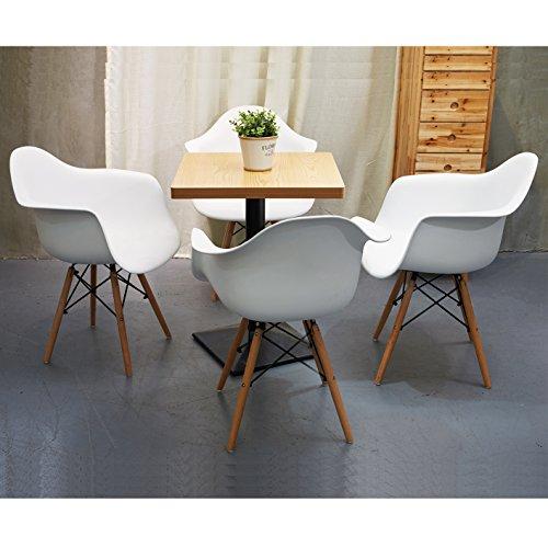 Lot von 4 Esszimmerstuhl, Ajie Retro Stuhl Beistelltisch mit solide Buchenholz Bein - weiß
