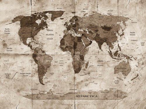 selbstklebende Fototapete Weltkarte retro II - sephia 200x150 cm - Tapete mit Klebstoff – Wandtapete – Poster – Dekoration – Wandbild – Wandposter – Wand – Fotofolie – Bild – Wandbilder - Wanddeko