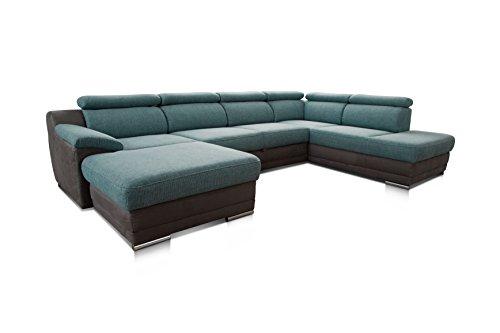 CAVADORE Wohnlandschaft Xenit mit Bettfunktion Verstellbaren Kopfstützen/XXL Couch mit Bett in U-Form/Ottomane und Longchair/Modernes Design/Größe: 338 x 81 x 215 cm (BxHxT)/Farbe: Türkis - Grau