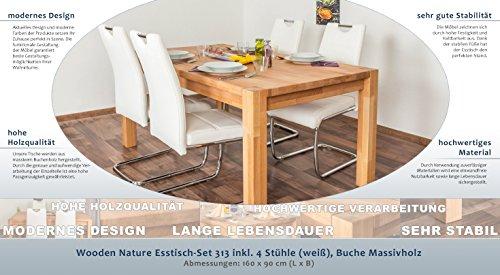 Wooden Nature Esstisch-Set 313 inkl. 4 Stühle (weiß), Buche Massivholz - 160 x 90 (L x B)