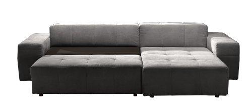 CAVADORE Polsterecke Futoro/3er Bett-Longchair/300x71x178 cm/Solo grau