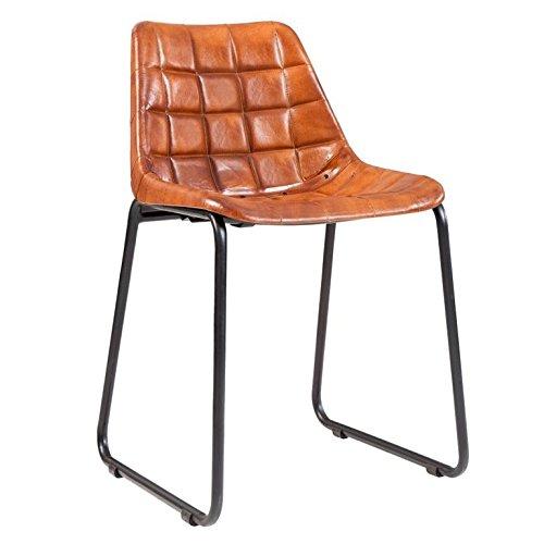 DuNord Design Stuhl Esszimmerstuhl TITAN braun echt Leder Eisengestell Design Küchenstuhl