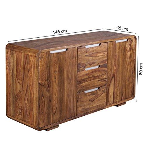 FineBuy Sideboard Massivholz Sheesham Kommode 145 cm 3 Schubladen 2 Türen Design Highboard Landhaus-Stil Echt-Holz Natur-Produkt Schubladenkommode dunkel-braun Flur-Möbel Aufbewahrung Dielen-Möbel