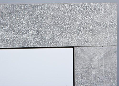 Inter Link Kommode Sideboard Anrichte Highboard Standschrank FSC KFB-Board Beton Nachbildung Weiss Hochglanz