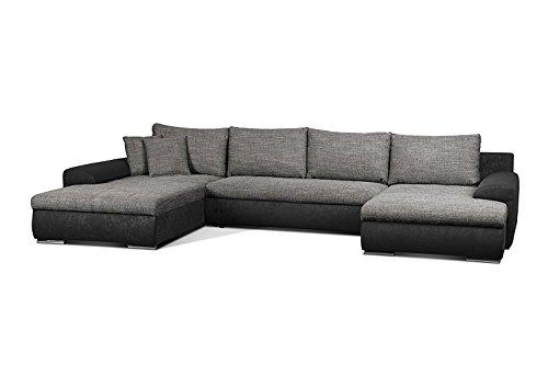 Cavadore Wohnlandschaft Leriot / Sofa in U-Form mit Strukturstoff / Longchair rechts oder links montierbar / Inkl. Zier- und Rückenkissen / Größe: 365 x 86 x 200 cm (BxHxT) / Schwarz - Grau