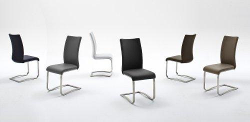 Robas Lund, Stuhl, Esszimmerstuhl, Schwingstuhl, Arco, 2er Set, Edelstahl/Echtleder/braun, 43 x 103 x 52 cm, ARC2LBX2