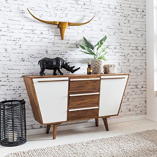 FineBuy Massives Sideboard GARA Sheesham Massiv Holz 140 x 80 x 42 cm | Kommode mit Türen & Schubladen | Design Highboard Anrichte | Massivholz Schrank