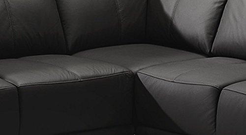 CAVADORE Ecksofa Calypse mit Bett/Schlafsofa mit Ottomane rechts/Modernes Design/273 x 83 x 214 (BxHxT)/Lederoptik schwarz