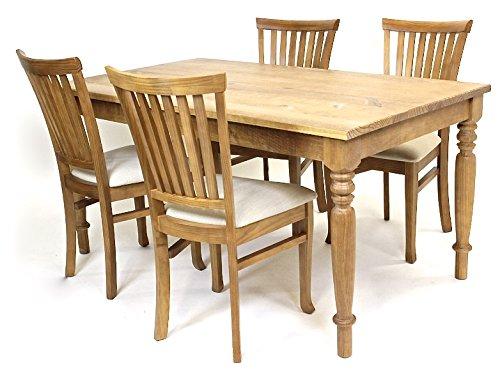 Set Landhaus Olinda Esszimmer FSC® N002524 Pinienholz Langer Naturholzmöbel Sitzgruppe Tisch mit Stühlen Massivholz 4x gepolsterte Stühle aus Leinen 1x Esstisch Massiv 160 x 90 Landhausstil Essgruppe Altholz Esszimmertisch