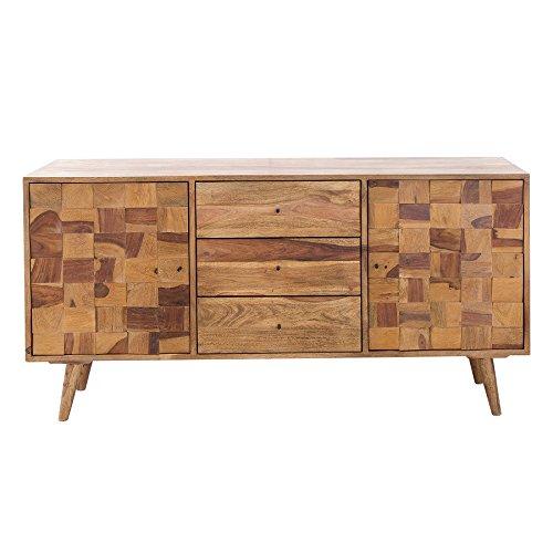 Massives Sideboard MOSAICO 145cm Sheesham Holz stone finish 3D Effekt Anrichte Kommode Schrank Holzschrank