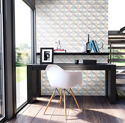 NEWROOM Tapete Beige Vliestapete Blau Grafik,Modern,Retro schöne moderne und edle Design Optik , inklusive Tapezier Ratgeber